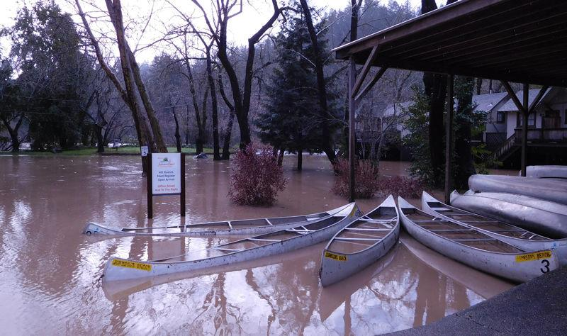 flooded canoes